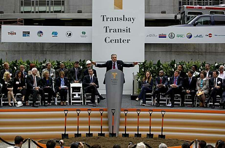 United States Secretary of Transportation Ray LaHood addresses the gathering as Federal, State and local officials joined together to officially break ground on the Transbay Transit Center in San Francisco, Calif., on Wednesday August 11, 2010, on the corner of First and Mission Streets. Photo: Michael Macor, The Chronicle