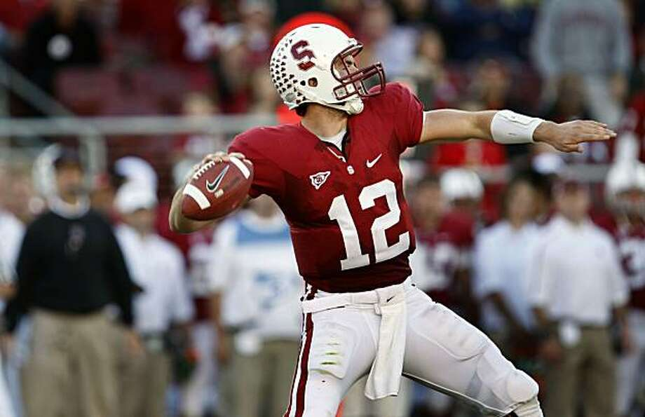 Stanford's Andrew Luck fires a strike into the  red-zone in second half action Saturday Nov 7, 2009. Stanford defeated 7th ranked Oregon 51-42 in their NCAA College football game in Palo Alto Ca. Photo: Lance Iversen, The Chronicle