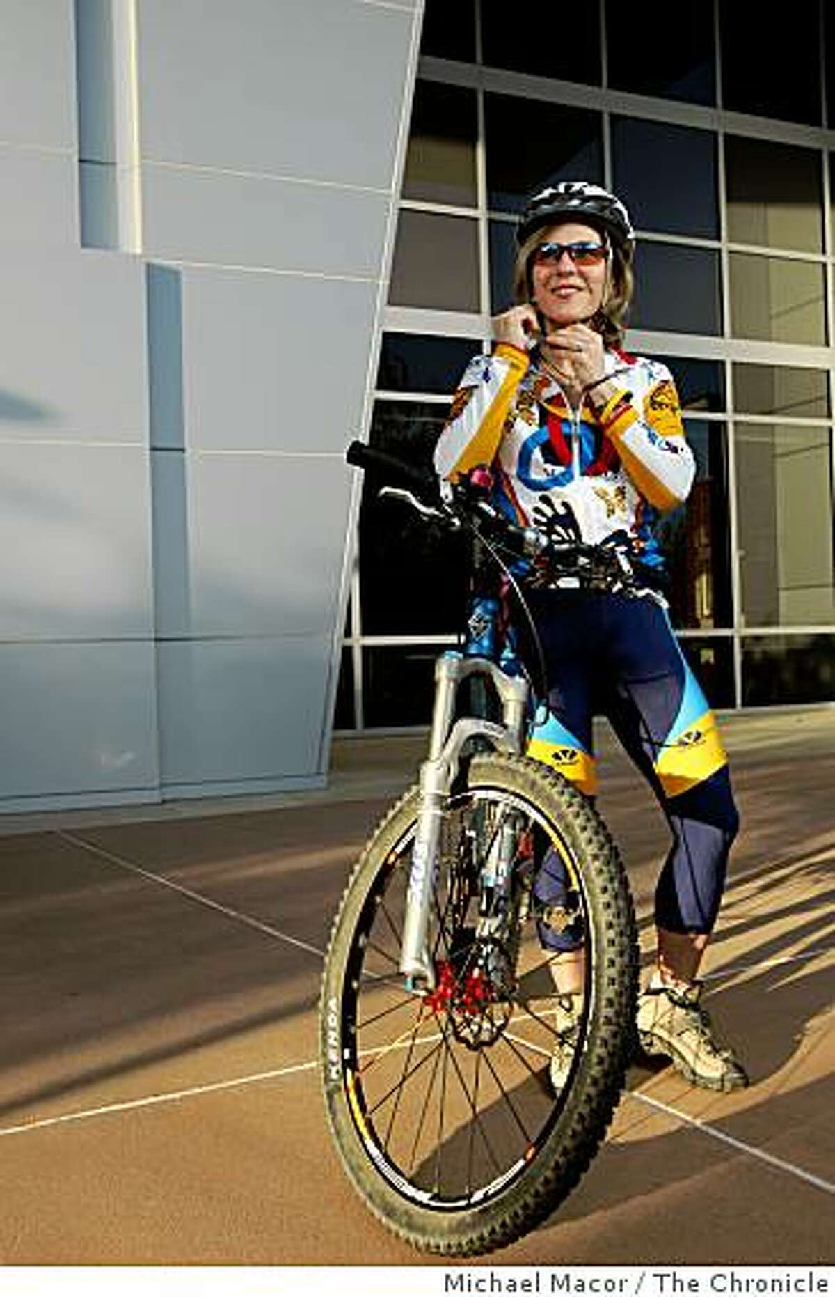 Dianne Lamendola, is an avid mountain biker who many times leaves work at the headquarters of Safeway Food Stores in Pleasanton, Calif., for a ride up nearby Pleasanton Ridge Regional Park as part of her workouts. In front of the corporate headquarters building on Dec. 5, 2008.