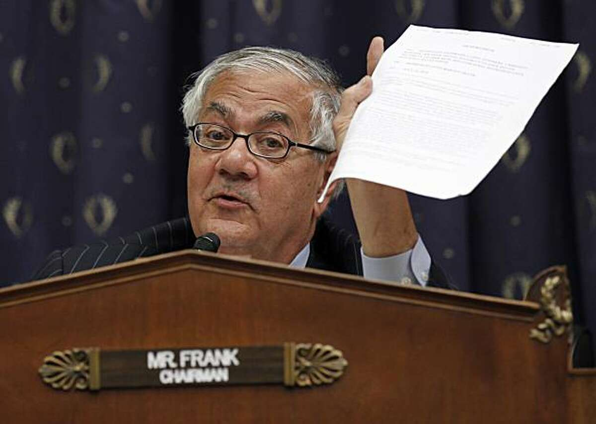 Chairman Barney Frank, D-Mass., asks a question as Chairman of the Federal Reserve Ben Bernake testifies before the House Financial Services Committee on Capitol Hill in Washington Thursday, July 22, 2010.