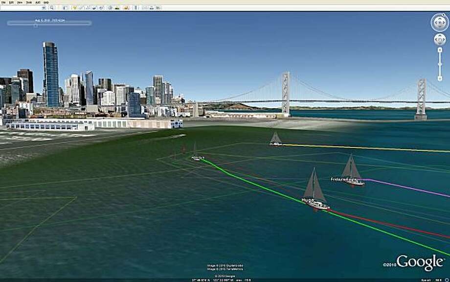 Sailboats battling on the water Friday, Aug. 6, 2010, are replayed in tracking technology launched June 14 and now available without cost to users of Google Earth. The race is the South Beach Yacht Club Friday Night Series. Pictured here (r-l) are Catalina 30 sailboats Friday's Eagle, Huge, Dancing Bear, and Adventure. Photo: Google