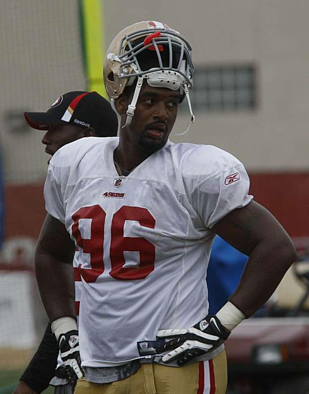San Francisco 49ers Kentwan Balmer, #96, during practice in Santa Clara, Calif., on Monday, August 2, 2009.