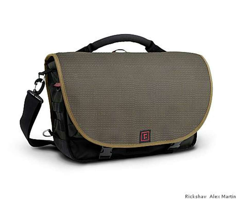 Rickshaw messenger bag, with exterior fabric made of recylced water bottles, from $140- $180. Photo: Rickshaw Alex Martin