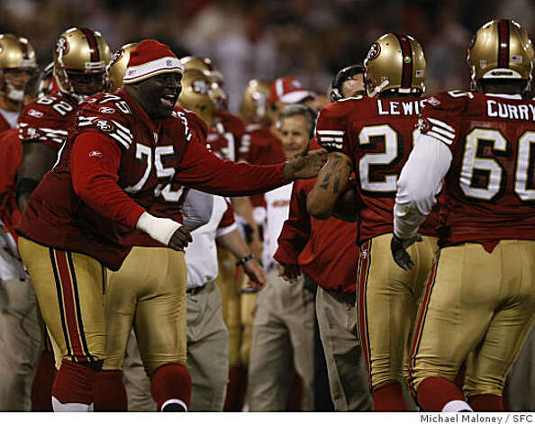 San Francisco 49ers Jonas Jennings (#75) cheers on the offensive line after they recovered a 4t quarter fumble.The San Francisco 49ers host the Green Bay Packers in an NFL preseason game at Candlestick Park in San Francisco, Calif., on August 16, 2008. The 49ers won 34-6. Photo: Michael Maloney, SFC