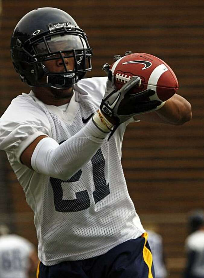 Cal's wide receiver Keenan Allen hauls in a pass during team workouts at Memorial Stadium in Berkeley on Saturday. Photo: Lance Iversen, The Chronicle