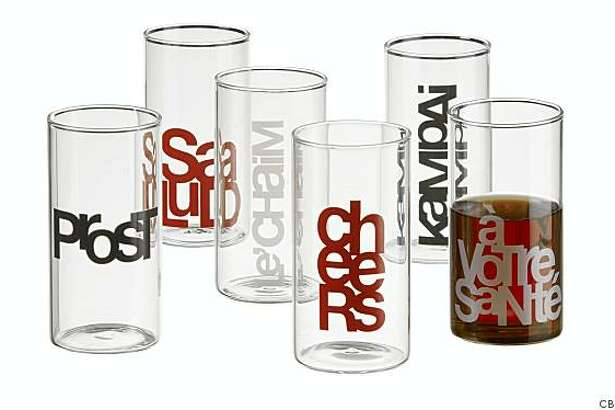 "Say cheers in many languages with glasses from CB2.Style: ""Standard"""