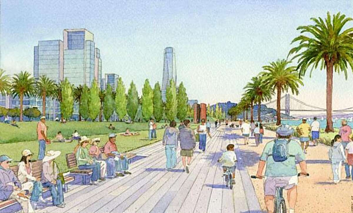 An artist's rendering of what the proposed development for Treasure Island would look like.