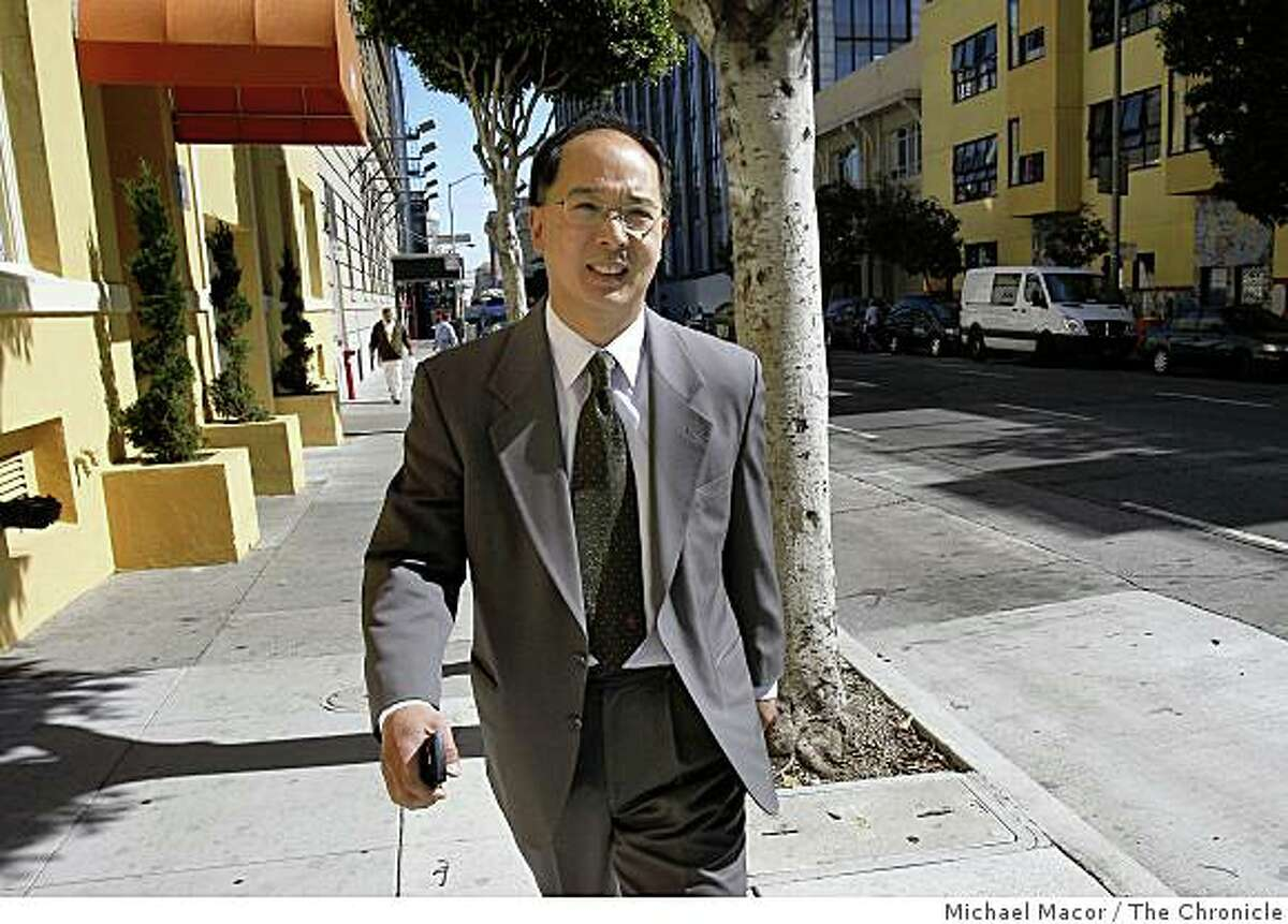 Former San Francisco Supervisor Ed Jew, leaves the Federal Building in San Francisco, Calif on Friday Oct. 10, 2008, after pleading guilty to federal charges.