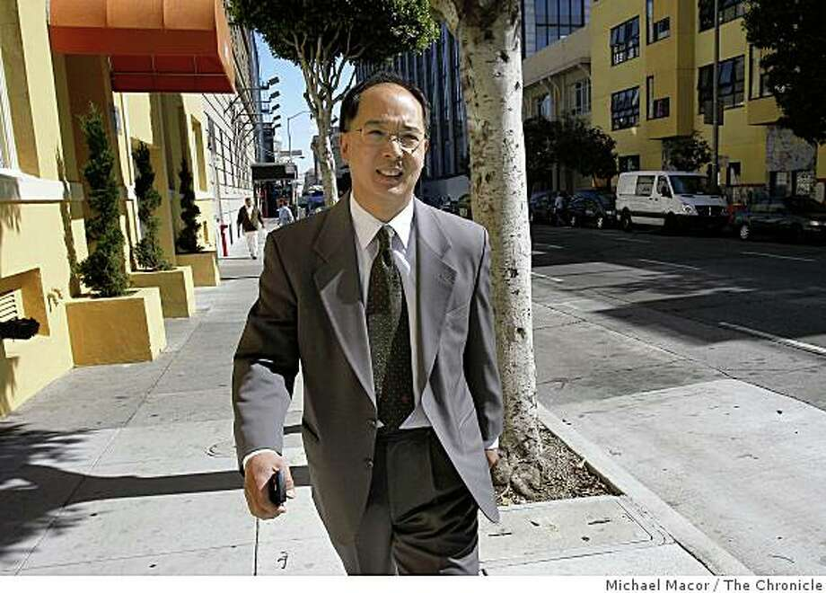 Former San Francisco Supervisor Ed Jew, leaves the Federal Building in San Francisco, Calif on Friday Oct. 10, 2008, after pleading guilty to federal charges. Photo: Michael Macor, The Chronicle