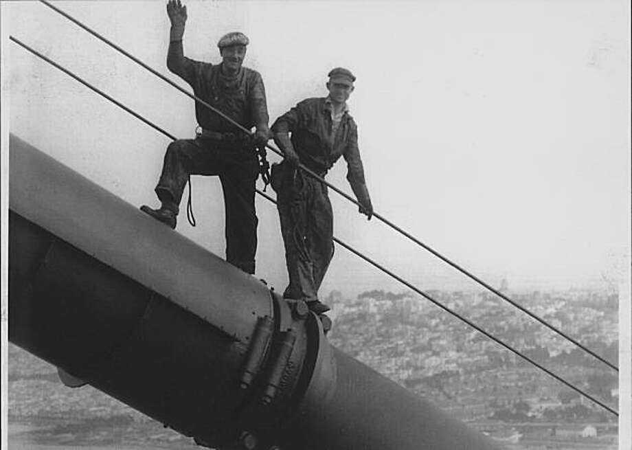 Harry Fogle (right) and Ed Kernn on the Golden Gate Bridge.  Photo was taken in 1953. Photo: Courtesy Harry Fogle, Harry Fogle