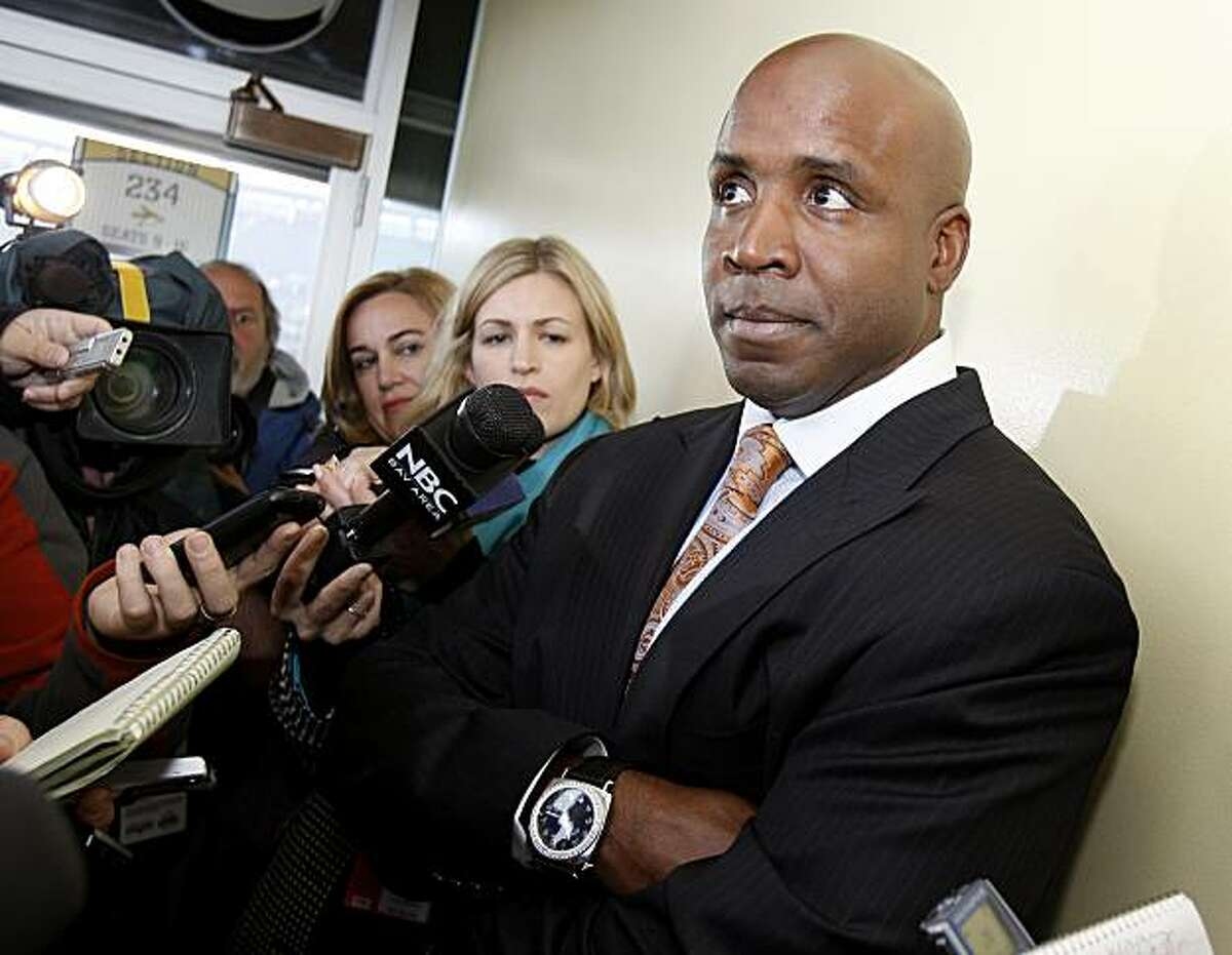 Barry Bonds listened to a reporters question as he talked about his life after baseball. Members of the San Francisco Giants year 2000 team gathered at AT&T Park Sunday April 11, 2010 on the ten year anniversary of the ballpark.
