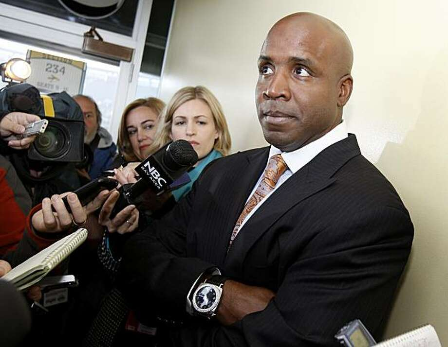 Barry Bonds listened to a reporters question as he talked about his life after baseball. Members of the San Francisco Giants year 2000 team gathered at AT&T Park Sunday April 11, 2010 on the ten year anniversary of the ballpark. Photo: Brant Ward, The Chronicle
