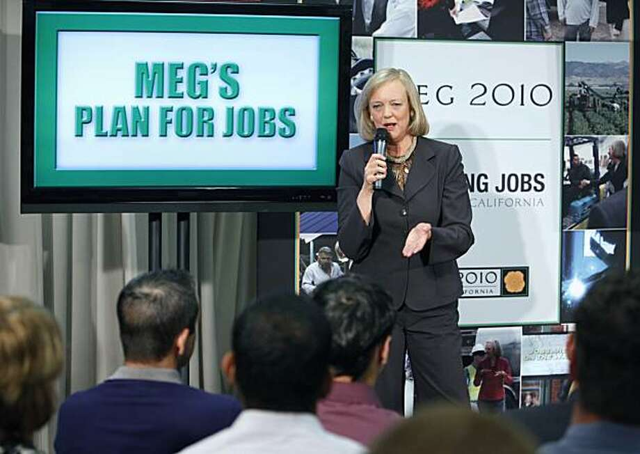 Republican candidate for Governor Meg Whitman speaks to employees of SynapSense, a computer technology company, about her plans to create jobs in California during a stop in Folsom, Calif., on Tuesday, Aug. 3, 2010. Photo: Steve Yeater, AP
