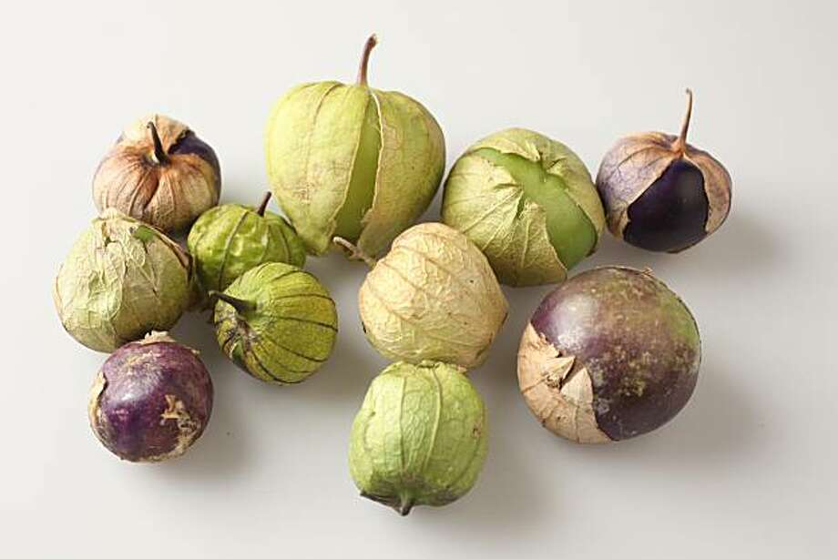 Green and purple tomatillos in San Francisco, Calif., on August 19, 2009. Photo: Craig Lee, The Chronicle
