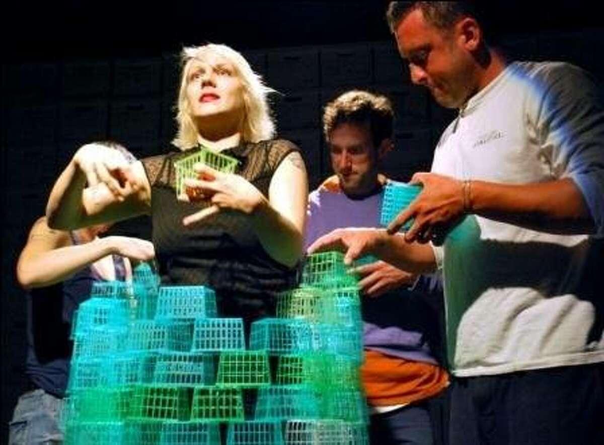 Erin Mei-Ling Stuart (partially hidden, left), Madeline H.D. Brown, Christopher W. White and Joe Estlack in Mugwumpin's