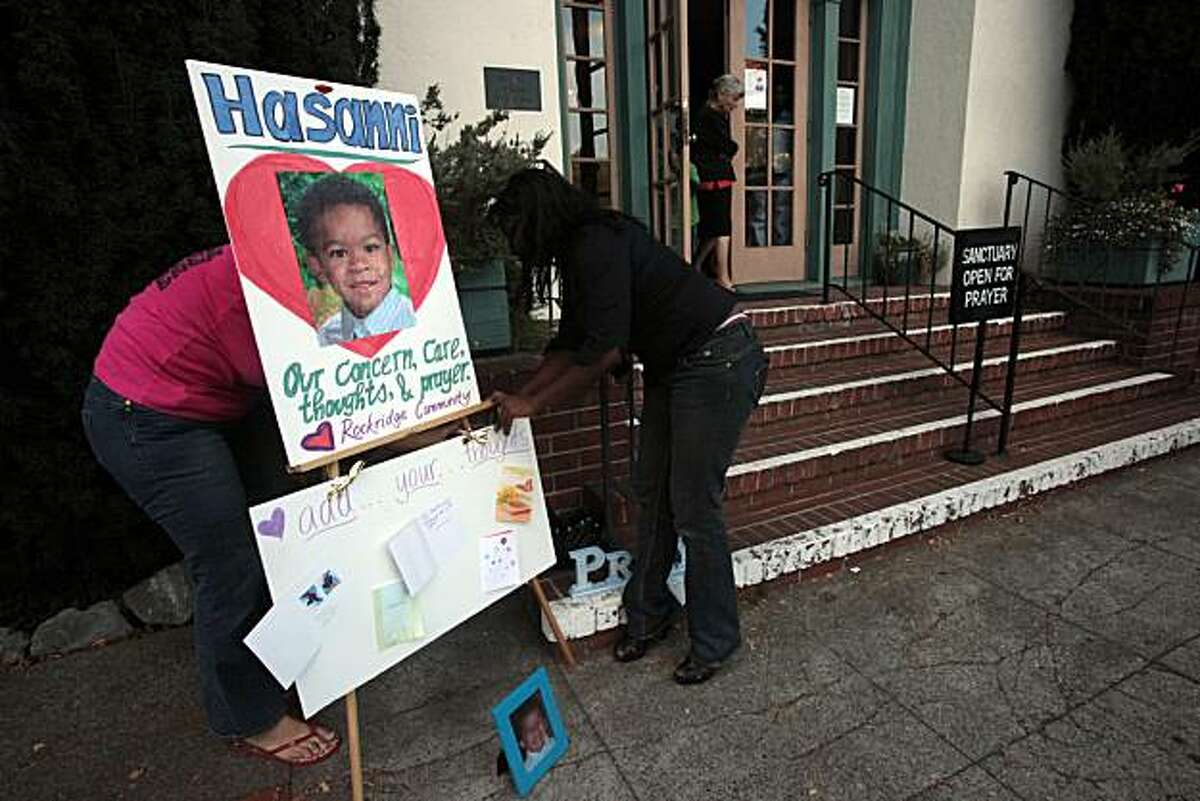 A vigil for missing 5 year old child Hasanni Campbell in Rockridge, Calif., on Monday, August 31, 2009.