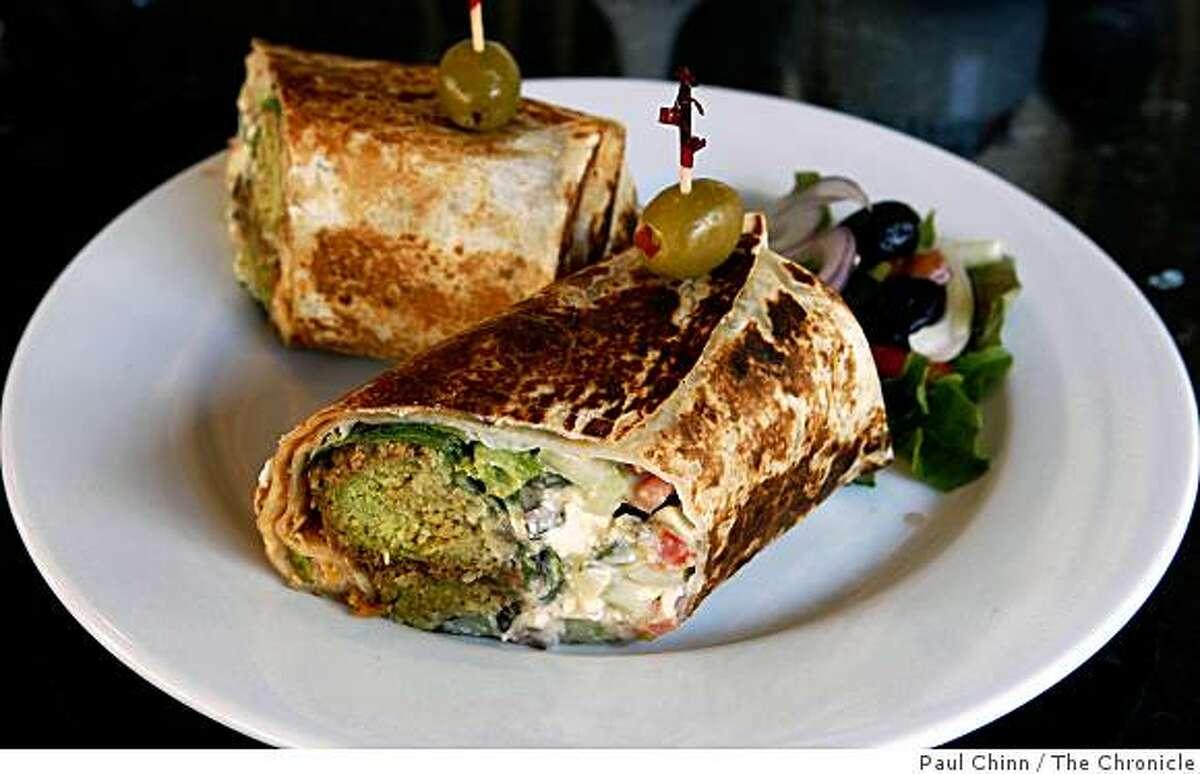 The super falafel sandwich is served at Cafe Zitouna restaurant in San Francisco, Calif., on Saturday, Dec. 6, 2008.