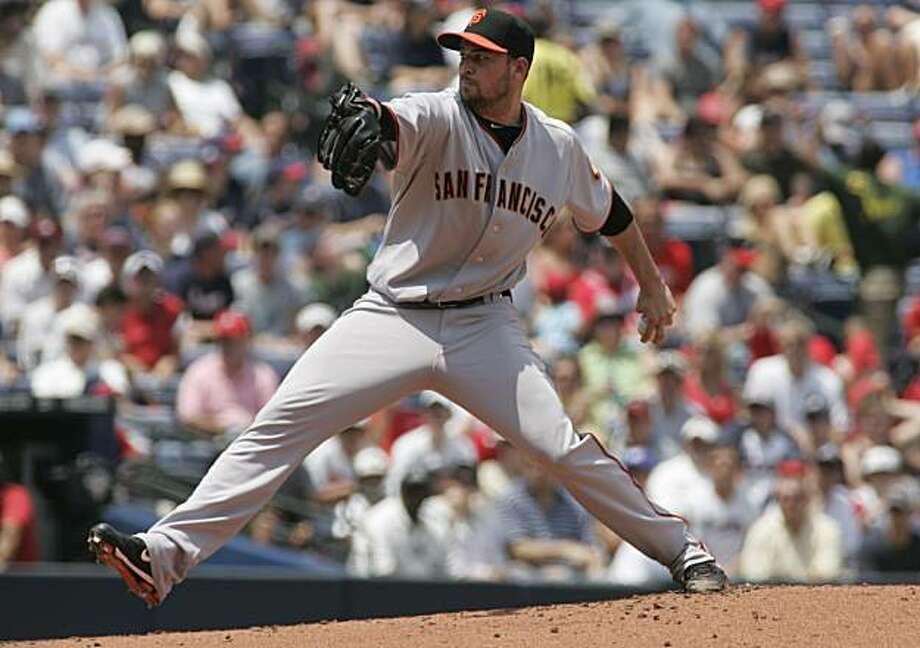 San Francisco Giants' Jonathan Sanchez pitches against the Atlanta Braves during the first inning of an MLB baseball game, Sunday Aug. 8, 2010. Photo: John Amis, AP