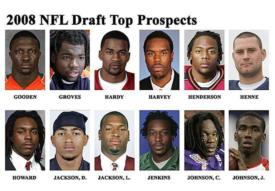 ** FOR USE AS DESIRED WITH 2008 NFL DRAFT STORIES **  FILE ** In these file photos top prospects for the 2008 NFL Draft are shown. They are : Tavares Gooden, Miami, ILB; Quentin Groves, Auburn, OLB; James Hardy, Indiana, WR; Derrick Harvey, Florida, DE; Erin Henderson, Maryland, OLB; Chad Henne, Michigan, QB; Marcus Howard, Georgia, OLB; DeSean Jackson, California, WR; Lawrence Jackson, Southern Cal, DE; Mike Jenkins, South Florida, CB; Chris Johnson, East Carolina, RB; Josh Johnson, San Diego, QB.  (AP Photo/File) ** MAGS OUT. NO SALES, EDITORIAL USE ONLY FOR HANDOUT PHOTOS ** Photo: File, 2008, AP