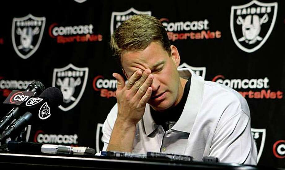 Raiders head coach Lane Kiffin tells the media he can't worry about the rumors of him being fired, because he can't do anything about it, at a press conference, Monday Sept. 15, 2008, in Alameda, Calif. Photo: Lacy Atkins, The Chronicle