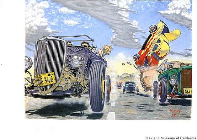 """Hot Rod Race"" (1976). Acrylic on board by Robert Williams. Photo: Oakland Museum Of California"