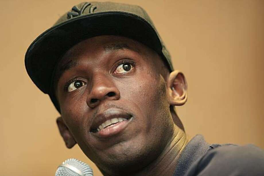 Jamaican sprinter Usain Bolt makes remarks during a news conference for the Penn Relays athletics meet, in Philadelphia, Friday, April 23, 2010. Photo: Matt Rourke, AP