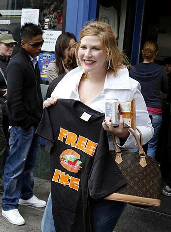 Devin Whitaker showed off her t-shirt she bought to support the restaurant. The popular Ike's sandwich store on 16th Street in San Francisco, Calif. is in danger of being shut down because of some recent unresolved legal issues Thursday August 5, 2010.Devin Whitaker showed off her t-shirt she bought to support the restaurant. The popular Ike's sandwich store on 16th Street in San Francisco, Calif. is in danger of being shut down because of some recent unresolved legal issues Thursday August 5, 2010. Photo: Brant Ward, The Chronicle