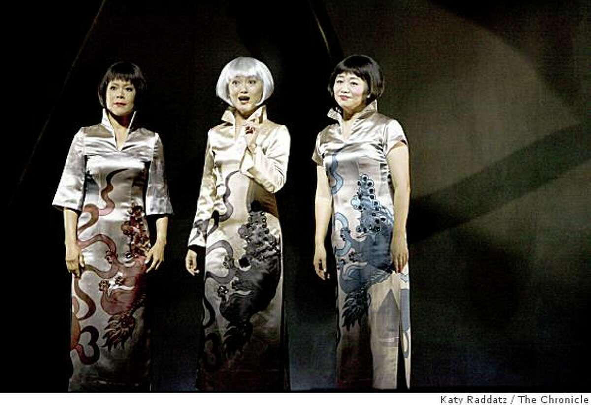 LuLing Liu Young, played by Nina Liang, left, Precious Auntie, played by Qian Yi, center, and Ruth Young Kamen, played by Zheng Cao, right, at the dress rehearsal of SF Opera's world premier of the opera based on the Amy Tan novel