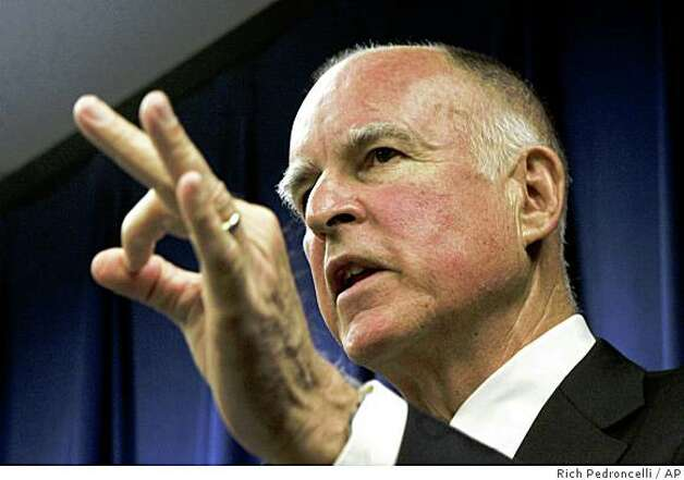 Attorney General Jerry Brown discusses how his office will handle the passage of Proposition 8 during a news conference in Sacramento, Calif., Wednesday, Nov. 5, 2008.  Approved by voters in Tuesday's election, Prop. 8 will change California's Constitution to ban same-sex marriage.(AP Photo/Rich Pedroncelli) Photo: Rich Pedroncelli, AP