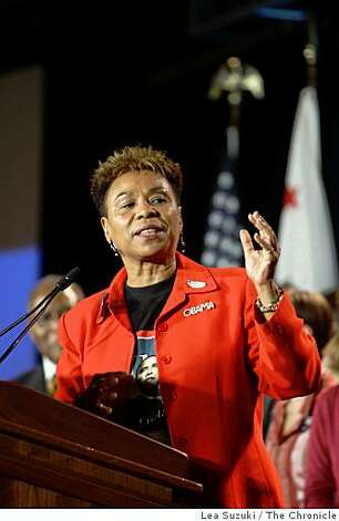 Representative Barbara Lee speaks during the No on 8 party at the Westin St. Francis on Tuesday, November 4, 2008 in San Francisco, Calif. Photo: Lea Suzuki, The Chronicle
