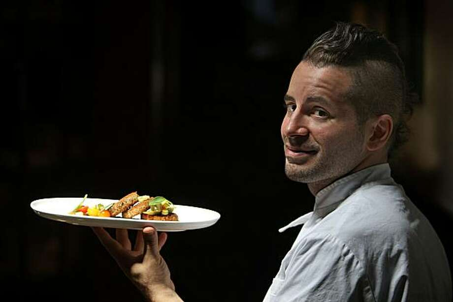 Matthew Accarino in the restaurant, along with his dish -- Halibut Croquetti with Arugula pesto and pickled okra, corn and tomato relish-- in San Francisco, Calif., on Wednesday, July 28, 2010. Photo: Liz Hafalia, The Chronicle