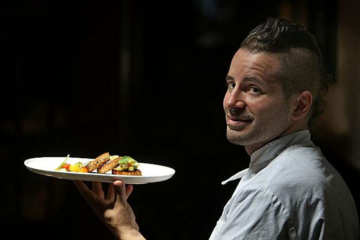 Matthew Accarino in the restaurant, along with his dish -- Halibut Croquetti with Arugula pesto and pickled okra, corn and tomato relish-- in San Francisco, Calif., on Wednesday, July 28, 2010.