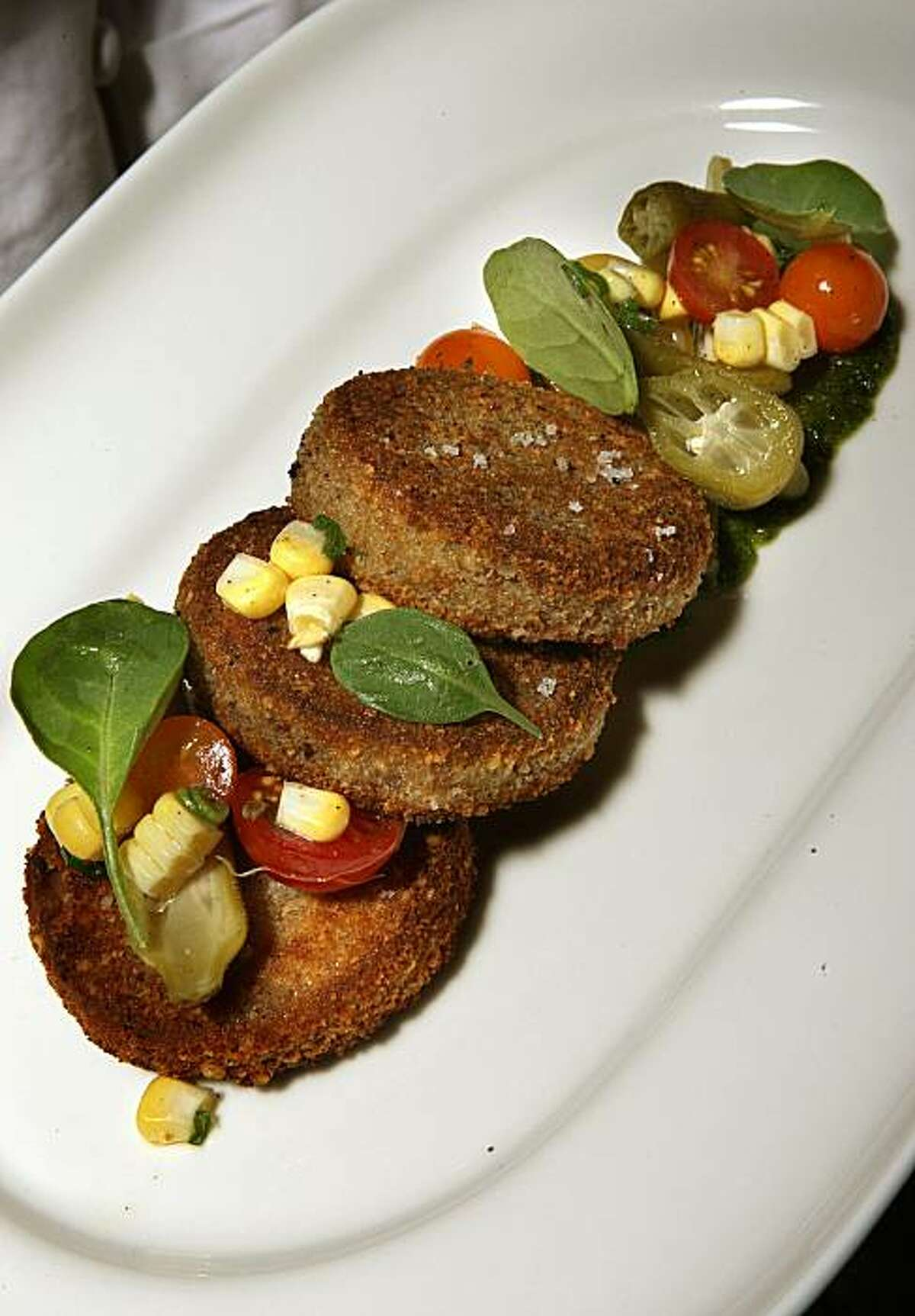 Matthew Accarino's dish -- Halibut Croquetti with Arugula pesto and pickled okra, corn and tomato relish-- in San Francisco, Calif., on Wednesday, July 28, 2010.