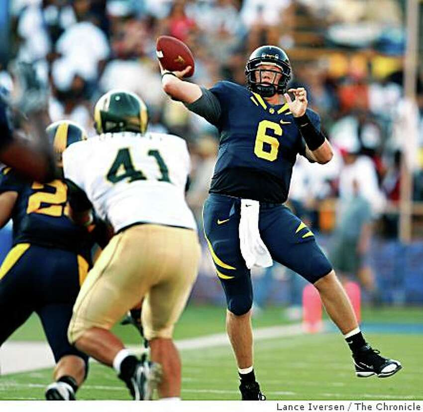 Quarterback Nate Longshore fires a TD pass in 3rd quarter action. California Golden Bears defeated the Colorado State Rams 42-7 September 27, 2008 in Berkeley Calif.