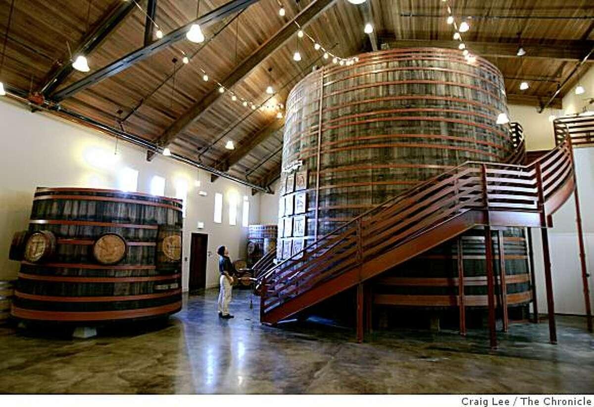 The barrel room at Sebastiani Vineyards in Sonoma, Calif.