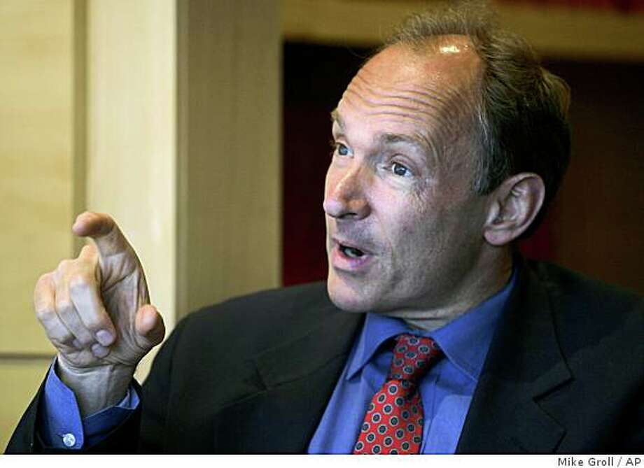 Tim Berners-Lee speaks during an interview at Rensselaer Polytechnic Institute in Troy, N.Y., Wednesday, June 11, 2008.  The scientist who invented the World Wide Web said that online social systems could change the way science and even government is conducted.  (AP Photo/Mike Groll) Photo: Mike Groll, AP