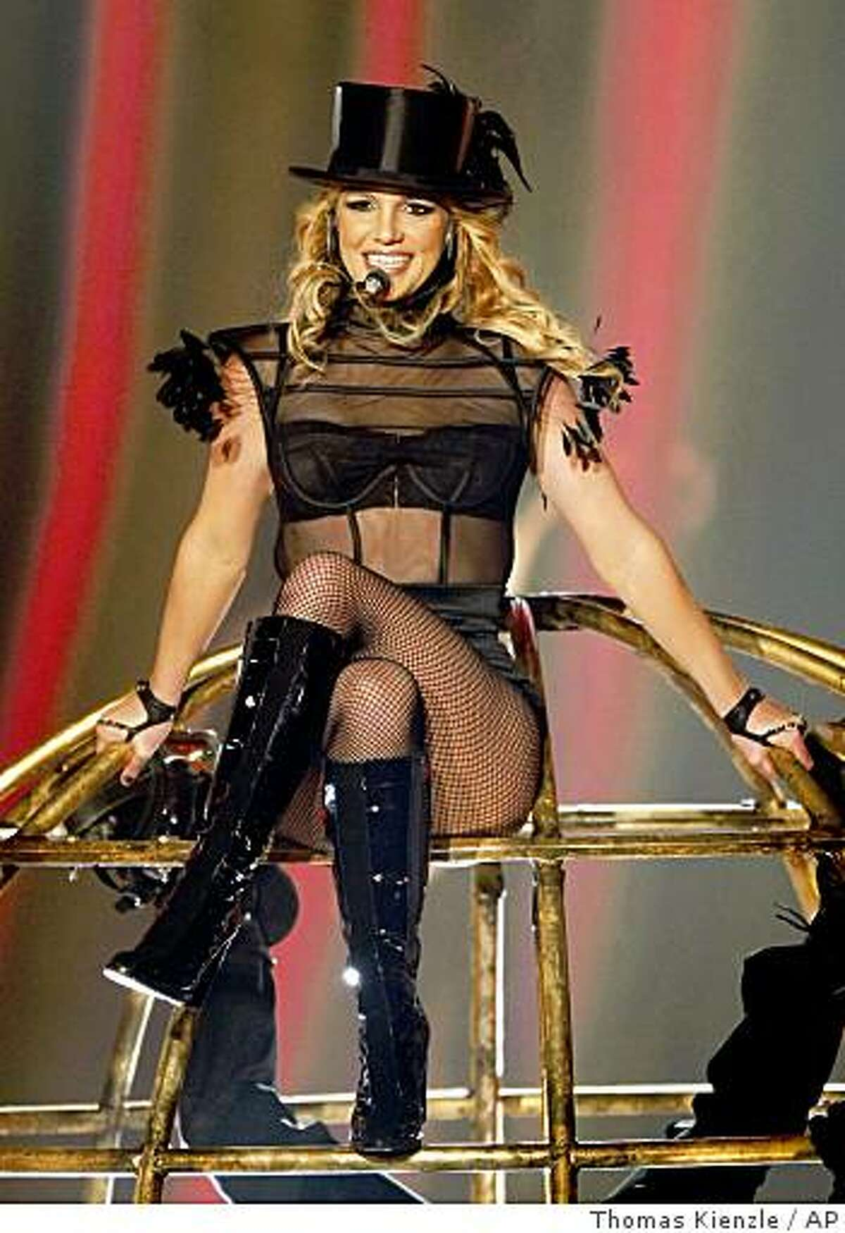Britney Spears was the No. 1 search on Yahoo in 2008.** FILE ** In this Nov. 27, 2008 file photo, US singer Britney Spears performs during the Bambi 2008 media award ceremony in Offenburg, Germany. (AP Photo/Thomas Kienzle, file)