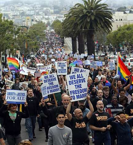 Supporters of same-sex marriage marched from the Castro District of San Francisco, Calif., to celebrate a federal judge's ruling that Proposition 8 was unconstitutional and was  being struck down on Wednesday, August 4, 2010. Those gathered in the neighborhood marched to City Hall for a rally celebrating the decision. Photo: Carlos Avila Gonzalez, The Chronicle