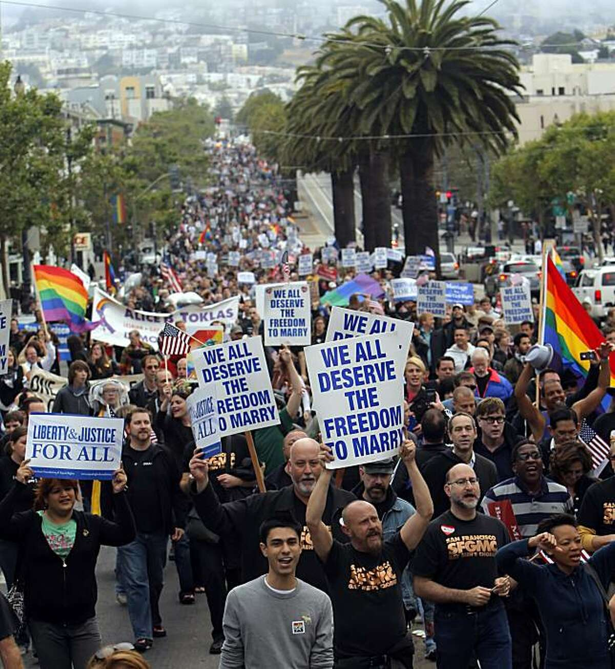 Supporters of same-sex marriage marched from the Castro District of San Francisco, Calif., to celebrate a federal judge's ruling that Proposition 8 was unconstitutional and was being struck down on Wednesday, August 4, 2010. Those gathered in the neighborhood marched to City Hall for a rally celebrating the decision.