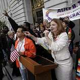 Molly McKay speaks to the crowd gathered to hear victory speeches from supporters of same-sex marriage on the steps of City Hall. Supporters of same-sex marriage gathered in San Francisco, Calif., to celebrate a federal judge's ruling that Proposition 8 was unconstitutional and was  being struck down on Wednesday, August 4, 2010.