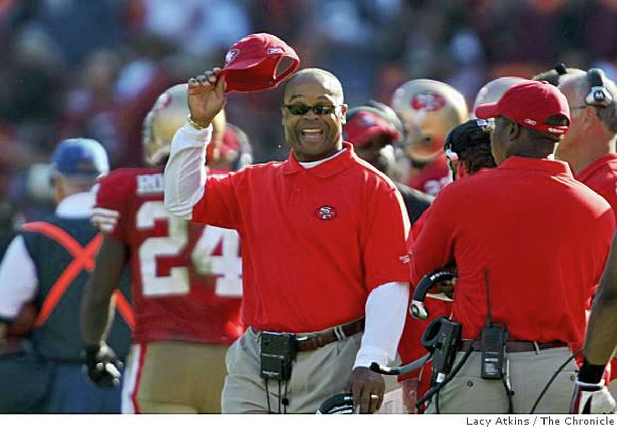San Francisco 49ers head coach Mike Singletary reacts to Seattle Seahawks interception in the fourth quarter at Candlestick Park, Sunday Oct. 26, 2008, in San Francisco, Calif.
