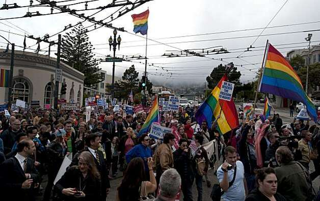 Supporters of the overturning of Proposition 8 march down Market Street in San Francisco, Calif., on Wednesday, August 04, 2010. Photo: Chad Ziemendorf, The Chronicle