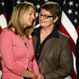 Plaintiffs Sandra Stier,left and Kristin Perry hold each other at the press conference  after hearing that Chief Judge Walker ruled in favor of the Perry v. Schwarzenegger case, striking down California's Proposition 8, Wednesday Aug.4, 2010, in San Francisco, Calif.