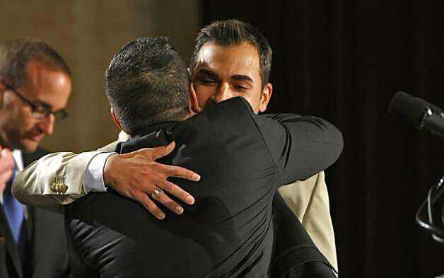 Plaintiffs  Jeff Zarillo and Paul Katami hugs during a press conference announcing the judges ruling striking down California's Proposition 8, Wednesday Aug.4, 2010, in San Francisco, Calif. Photo: Lacy Atkins, The Chronicle