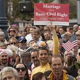 Same sex marriage supporters hold a rally in the Castro district after US District Judge Vaughn Walker announced his ruling to overturn Prop 8 finding it unconstitutional August 4, 2010 in San Francisco, California. The voter approved measure denies same-sex couples the right to marry in the State of California. Photograph by David Paul Morris/Special to the Chronicle