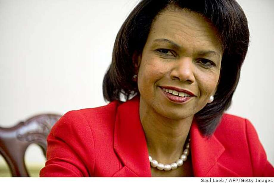 "US Secretary of State Condoleezza Rice speaks during an interview at the State Department in Washington, DC, on December 22, 2008. Rice said Monday she will travel to China after the New Year, her last scheduled trip before President George W. Bush's administration steps down.  ""I will go after the first of the year to China for the 30th anniversary of the establishment of US-China relations. I think it's important to do it,"" Rice said in an interview with AFP. AFP PHOTO / Saul LOEB (Photo credit should read SAUL LOEB/AFP/Getty Images) Photo: Saul Loeb, AFP/Getty Images"