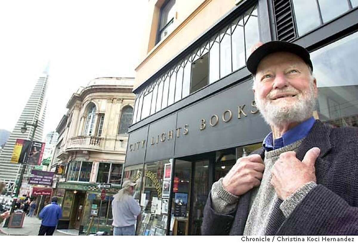 City Lights Bookstore celebrates its 50th anniversary and we document the store and shoot owner, Lawrence Ferlinghetti . Shot on 5/29/03 in San Francisco. CHRISTINA KOCI HERNANDEZ / The Chronicle