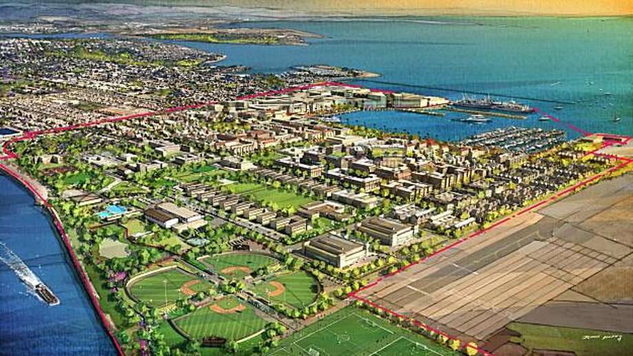 Artists' renderings of SunCal's vision for Alameda Point SunCal hopes to build 4,800 homes, parks, offices and a ferry terminal at Alameda Point Photo: Dennis Allain/SunCal