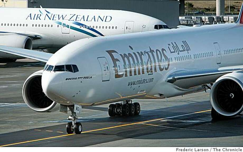 On its first nonstop service between San Francisco and Dubai, Emirates Airlines flight EK225 taxis into its gate at SFO on December 15, 2008. Photo: Frederic Larson, The Chronicle