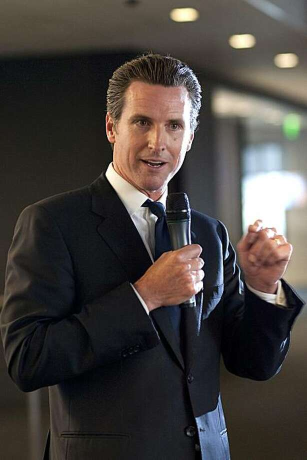 Gavin Newsom, mayor of San Francisco, speaks at an event co-hosted by Bloomberg LP and the San Francisco Chronicle in San Francisco, California, U.S., on Tuesday, June 22, 2010. Bloomberg and the San Francisco Chronicle are partnering to expand the newspaper's business section. Photographer: David Paul Morris/Bloomberg *** Local Caption *** Gavin Newsom Photo: David Paul Morris, Bloomberg